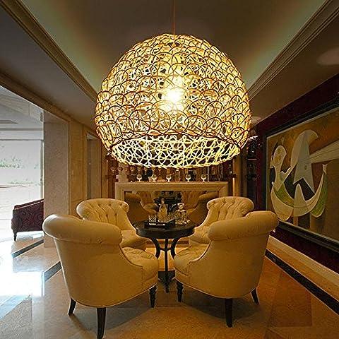 YanCui@ Illuminazione per interni Lampadari Pastorale tessuto rattan Lampadario creativo soggiorno/camera da letto/sala da pranzo Lampade sferiche , 25*18cm