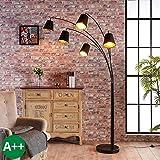 Lampenwelt Stehlampe (Bogenleuchte) 'Tinne' (Modern) in Schwarz aus Textil u.a. für Wohnzimmer & Esszimmer (5 flammig, E14, A++) - Stehleuchte, Floor Lamp, Standleuchte, Wohnzimmerlampe