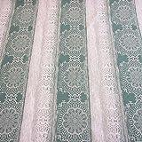Stoff Meterware Baumwolle natur Streifen dunkeltürkis