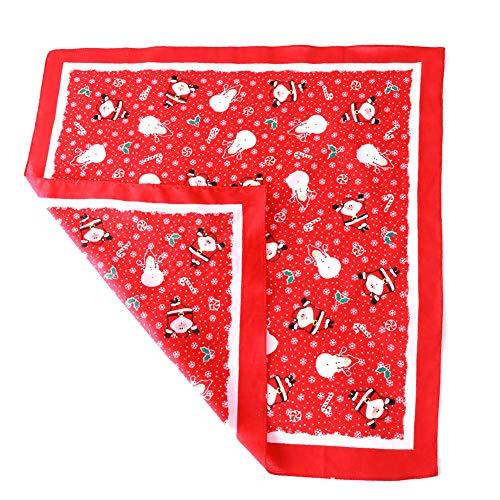Wudi Cotton Hunde-Bandana Weihnachten Schal-Pack Plaid Triangle Lätzchen klein bis groß Print Set Hundezubehör Haustier-Katzen-55 * 55 cm Roten
