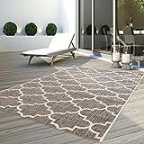 CC Teppich Flachflor Modern Outdoor fest Geknüpft Outside verschiedene Designs NEU, Größe in cm:120 x 170 cm, Sunset:Gitter-Beige