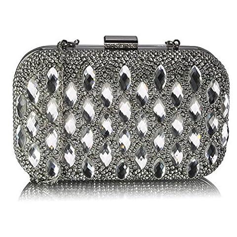 Beaded Clutch Bag Prom Party Bridal Handbag Rhinestone Evening Ladies Purse (Silver Clutch Bag)