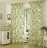 Yujiao Mao Weiße Blumen Muster Druck 1-er Pack Voile Transparente Tunnelzug Gardine Schlafzimmer Wohnzimmer Vorhang, BxH 140x245cm