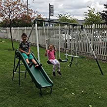 4 Piece Outdoor Kids Play Set, Swing, Slide, Seesaw Multi Function Play Area