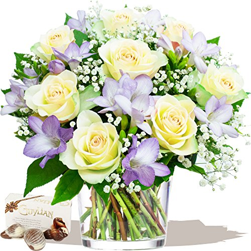 amethyst-bouquet-chocolates-fresh-whites-roses-with-blue-lilac-freesias-by-eden4flowers