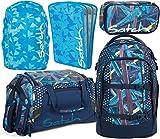 satch pack Splashy Lazer 5er Set Rucksack, Sporttasche, Schlamperbox, Heftebox & Regencape Blau