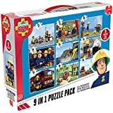 Jumbo 17338 - Fireman Sam 9-in-1 Puzzle Mix