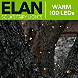 Elan Outdoor Garden Solar Powered LED Fairy String Lights - Warm White 100 LEDs