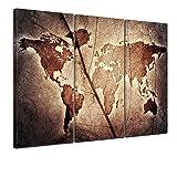 Kunstdruck - Weltkarte - Bild auf Leinwand - 150x90 cm 3tlg - Leinwandbilder - Urban & Graphic - Erde - Kontinente - Geographie auf Einem Blatt