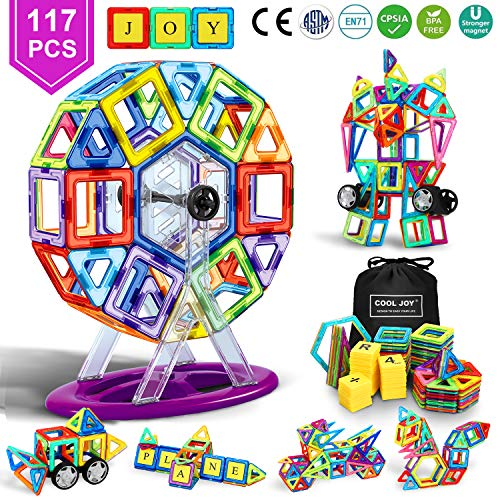 Dookey Magnetic Building Blocks, 117pcs STEM Educational Toys Wheel and Instructions Carrying Bag Construction Blocks Games Ferris Wheel/Robot/Car for Boys ? Girls Toddlers