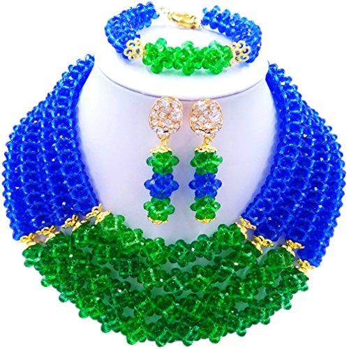 Laanc Naturel Cristal Bijoux Définit 4rows 45,7cm Collier du Nigeria Mariage africain Bracelet de perles Boucles d'oreilles Vert/bleu