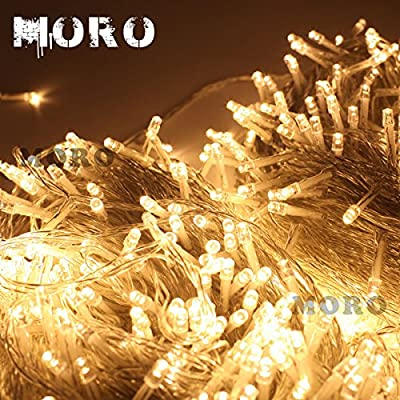 MORO 100m(328feet) 8 Modes 500 LEDs Christmas Fairy String Light Lighting Wedding Party Lamp Clear Cable Waterproof Xmas Decorative from MORO