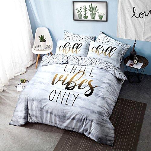 Sleepdown Chill Slogan Fully Reversible Duvet Quilt Cover + PillowCases (Single) Best Price and Cheapest