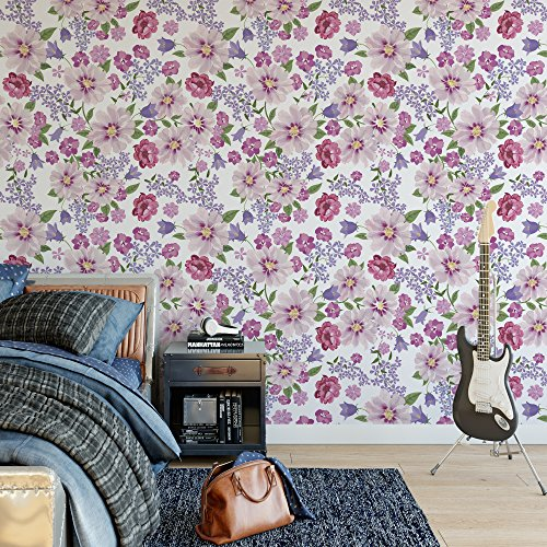 DeStudio Floral Seamless Texture With Flowers Wallpaper Tiles (Wall Covering Area : 50cms X 50cms) (Pack of 02)-14131
