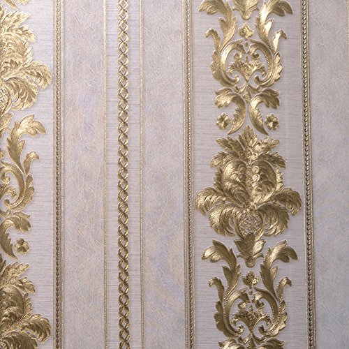 Europeo vintage lusso in rilievo dorato parati strutturata – home decor sticker per soggiorno, camera da letto e tv sfondo –28,87 x 374 pollici – dracarys (dorato)