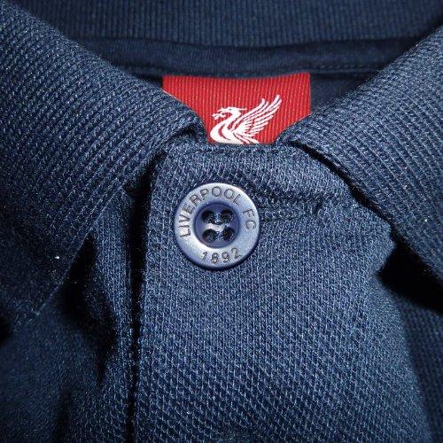 FC Liverpool Herren Polo-Shirt mit originalem Fußball-Wappen Marineblau