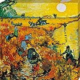Vincent Van Gogh - The Red Vineyard, 1888, 3 Parts Cuadro, Lienzo Montado Sobre Bastidor (40 x 40cm)