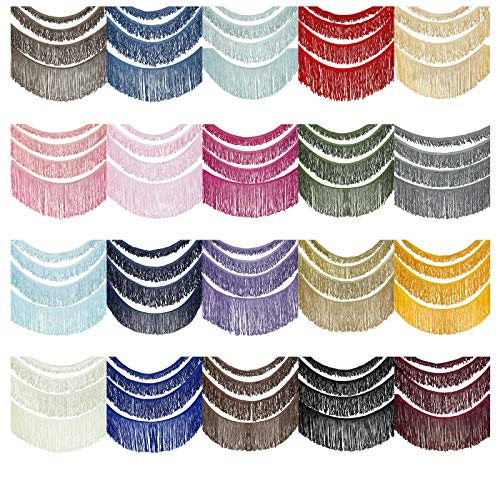 Fransenborte Kunstseide Fransenband Schleifen Fransen Borte. Polyester Reyon Antik Aussehendgewellt Kostüm Fasching Vorhang Deko Quaste Band. 2,4,6 & 13cm 20 Farben. Light Blue #305, 2cm, 1YD