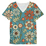 Snoogg Colorful Floral Seamless Pattern In Cartoon Style Seamless Pattern Mens Casual V Neck All Over Printed T Shirts Tees