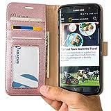 Coque Galaxy S7 Edge, Abacus24-7 Etui à Rabat en Cuir, Housse de Protection pour Samsung Galaxy S7 Edge, Format Portefeuille avec Emplacements Carte, Fonction Support et Languette Aimantée - Or Rose