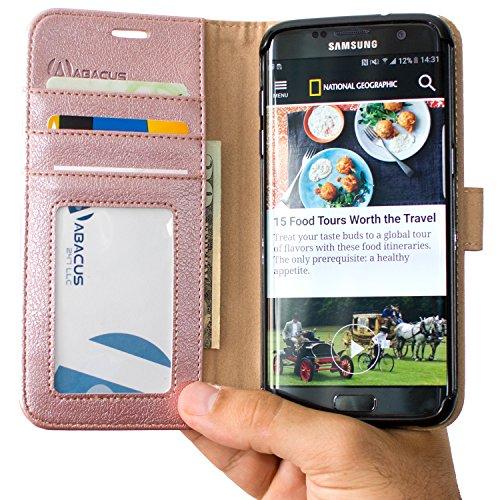 S7 Edge Hülle [Abacus24-7® Deutschland] Bookstyle Design Tasche mit Ständer, Fächern für Karten und Bargeld, Brieftasche mit RFID Blocker Schutzkarte , Schutzhülle für Galaxy s7Edge - Rosegold