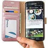 Coque Galaxy S7 Edge, Abacus24-7® Etui à Rabat en Cuir, Housse de Protection pour Samsung Galaxy S7 Edge, Format Portefeuille avec Emplacements Carte, Fonction Support et Languette Aimantée - Or Rose