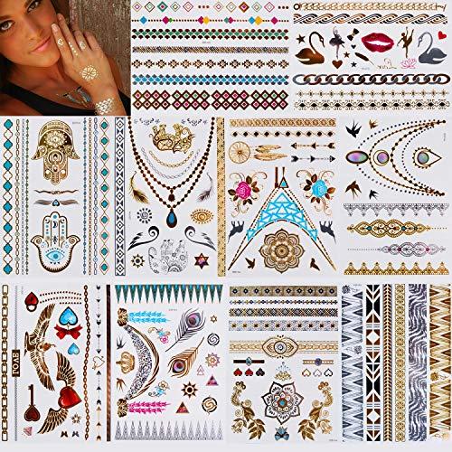 Tattoos Tätowierung Temporäre Metallic Tattoos Flash Temporäre Wasserdicht 10 Blatt in Gold Silber Sticker Body Fake Schmuck Tattoos Designs für Frauen Jugendliche Mädchen Körperkunst