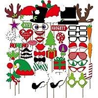 Kapmore 50Pcs Photo Booth Puntelli Capodanno Natale Partito Photo Booth Puntelli fai da te
