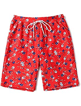 HAIYOUVK Beach Pants Men'S Quick-Drying Seaside Holiday Lovers Set Seaside Suit Loose Hot Spring Color Five Pants...