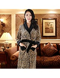 7fea7b2e2b pengweiAutumn and winter thick sexy leopard coral velvet nightgown long  flannel bathrobes for men and women