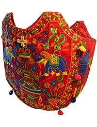 Bolso indio algodón multicolor rojo elefantes bordado espejitos bolsa accesorio