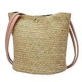YULAND Damen Ledertasche Kleine, Umhängetaschen Handtaschen Mode Frauen Casual Umhängetasche Stroh Taschen Woven Bucket Bag Handtasche (Rosa)