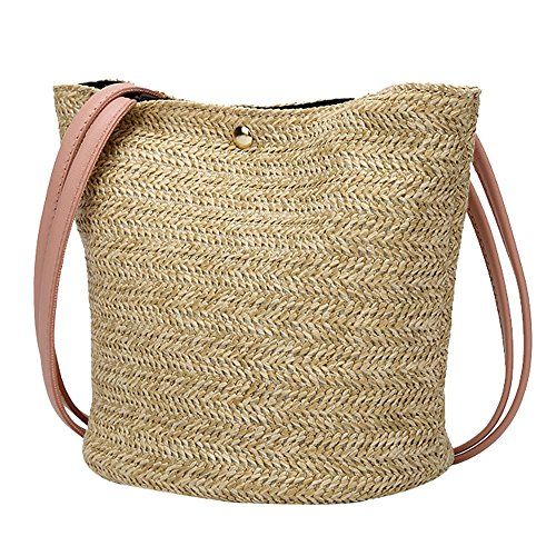 FOANA Mode Frauen Casual Umhängetasche Strohbeutel Woven Bucket Bag Handtasche