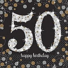 Idea Regalo - Tovaglioli da tavola 33 cm, Amscan 511546 Celebrazione nozze d'oro 50 anni