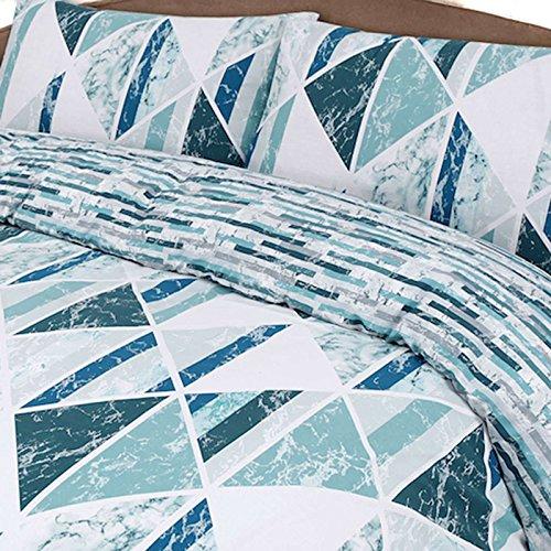 Bettbezug Set Einzelbett mit Kopfkissenbezug Steppdecke Bettwäsche-Set beidseitig bedruckt Poly Baumwolle, Diamant Marble Blaugrün