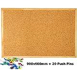 Mensaje de corcho Pin tablón de anuncios marco de madera chinchetas oficina pizarra oficina escuela papelería 900 x 600 mm