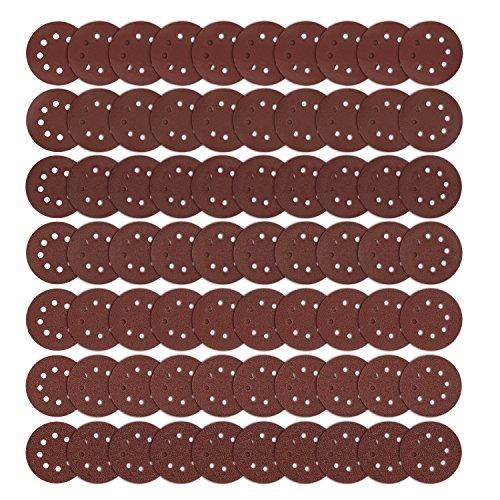 Schleifscheiben, iTrunk 125 mm 70PCS Sander Schleifpads Papierbögen Schleifpapier klett Haken- und Schlaufenscheiben körnung je 40 60 80 120 180 240 400 Körnungen
