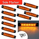 VIGORWORK 10Pcs 12V 24V 6LED Side Indicadores Indicadores Luces Lámpara Para Camiones Remolque Camión Lorry 6 LED Amber Clearence Bus