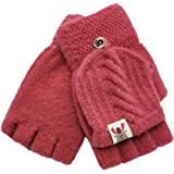 1 Pair Children Gloves, Kids Winter Warm Knitted Convertible Flip Top Fingerless Mittens Gloves for Boys and Girls