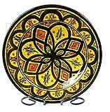 Orientalischer Keramik Teller handbemalt marokkanische Keramikschüssel Wandteller klein Color Gelb