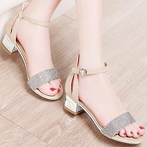 ZPPZZP La sig.ra sandali irregolare con stile Coreano a testa tonda con scanalato 37EU