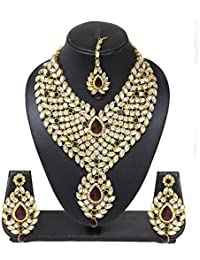 Evince Mode Exclusive Wedding Party Crystal Multi Color White Green Red Kundan Necklace Earring Maang Tika Set