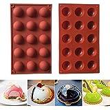 HPiano 2 pièces Moule Forme Demi Sphères 15 Cavités Silicone Outil de Cuisson pour Vos Desserts au Chocolat, Bombes à la crèm