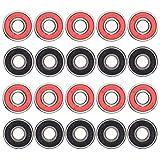 Sumaju skateboard cuscinetti, 20pezzi, doppia schermatura skateboard longboard Bearings pattini a rotelle cuscinetto per ruota rosso e nero