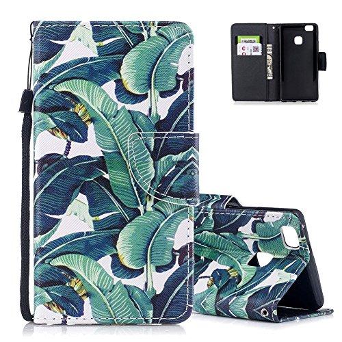 Aeeque® Bumper Huawei P9 Lite Protection Cover avec Motif Feuilles Vert Folio Housse de Protecteur en PU Cuir Résistant aux Chocs Poche Cas Couverture Support Etui a Rabat Magnetique Coque pour Huawei P9 Lite 2016