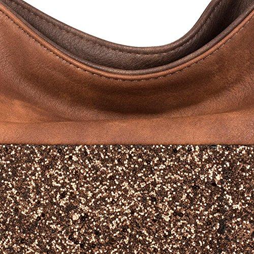 styleBREAKER edle 2-farbige Hobo Bag Handtasche mit Pailletten Streifen, Shopper, Schultertasche, Tasche, Damen 02012181, Farbe:Schwarz / Antik-Grau Dunkelbraun / Braun