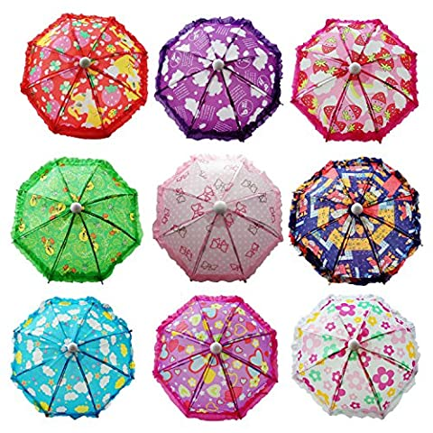Hikfly Pack of 2pcs Cute Doll Toys Suny Rainy Umbrella for American Girl Dolls and other 18 inch Dolls Decoration Games (Flower)