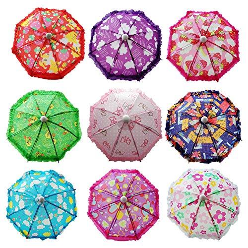 Hikfly Pack von 2pcs niedlichen Puppe Spielzeug Suny regnerischen Regenschirm für amerikanische Mädchen Puppen und andere 18