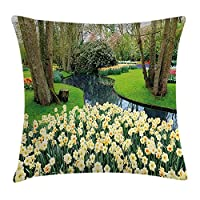 tgyew Spring Decor Throw Pillow Cushion Cover, Flower Garden in Recreation Park with Fresh Grass Field and Pond Nature Scene, Decorative Square Accent Pillow Case, 18 X 18 Inches, Green Brown