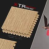 We R Sports 14mm Interlocking Plush Carpet Cushion Soft Foam Floor EVA Mats With Edging (Light Wood, 20 Mats - 80 Square feet)